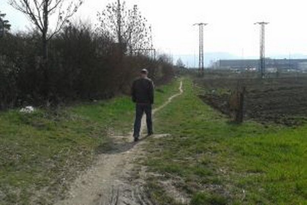 Poľná cesta Ľudia cez ňu chodia do práce