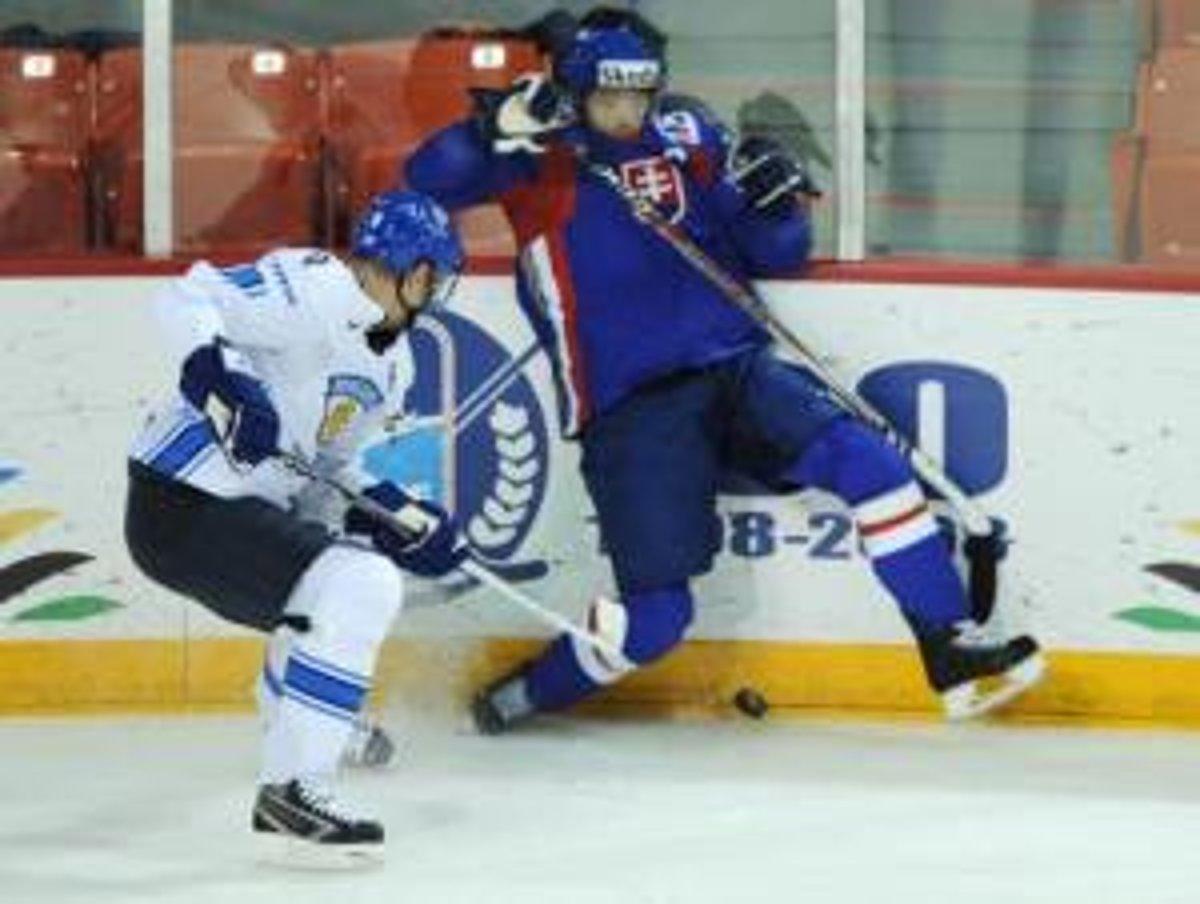 45e6446d57bd2 Fín Mikko Koivu (vľavo) v súboji o puk so Slovákom Róbertom Petrovickým v  zápase