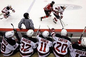 Hráči New Jersey Devils sledujú z lavičky súboj s farmárskym tímom Albany Devils. (AP Photo/Julio Cortez)