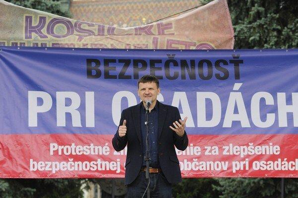 Alojz Hlina protestoval proti neprispôsobivým obćanom v Košiciach.