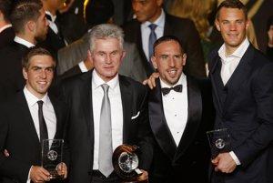 Štvorica, ktorá stála za úspechmi Bayernu. Zľava: Philipp Lahm, Jupp Heynckes, Frank Ribery a Manuel Neuer.