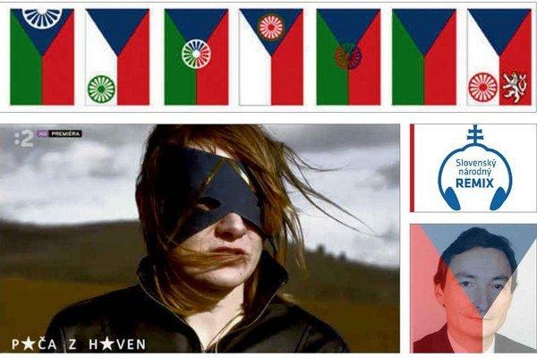 Štyri rôzne verzie štátnych symbolov. Návrhy česko–rómskej zástavy, speváčka vo filme, portrét ex–politika na Facebooku kapely a obal CD.