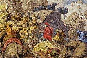 Hannibal prekračuje Alpy.