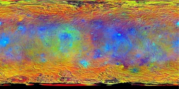 Topografická mapa povrchu Ceresu v nepravých farbách.