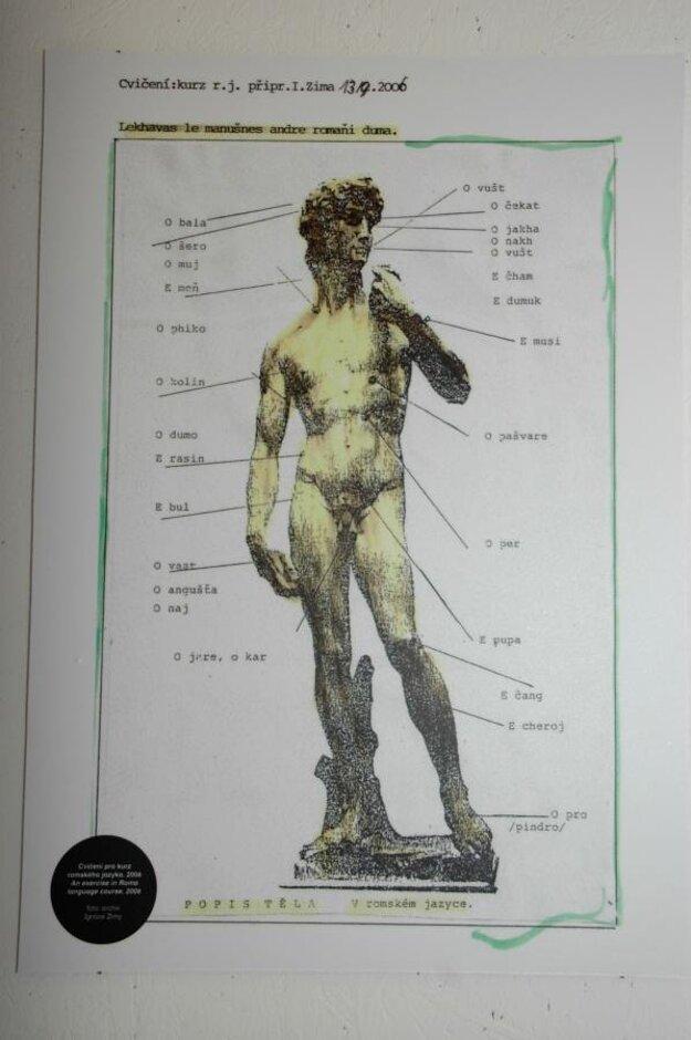 Pamätník Ignác Zima vytvoril obrázok Názvy častí tela v rómčine. Foto z výstavy v Prahe.