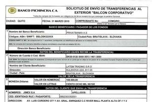 Prevodný príkaz, ktorým ekvádorská stavebná firma Jimex prevádza nezdanených 100-tisíc dolárov firme Latem Trading z Bratislavy. Ide o súčasť transakcie pre ekvádorského podnikateľa Marca Vallejeho.