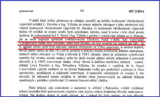 V písomnom zdôvodnení pražského súdu sa o stíhaní Miroslava Výboha píše na strane 104.