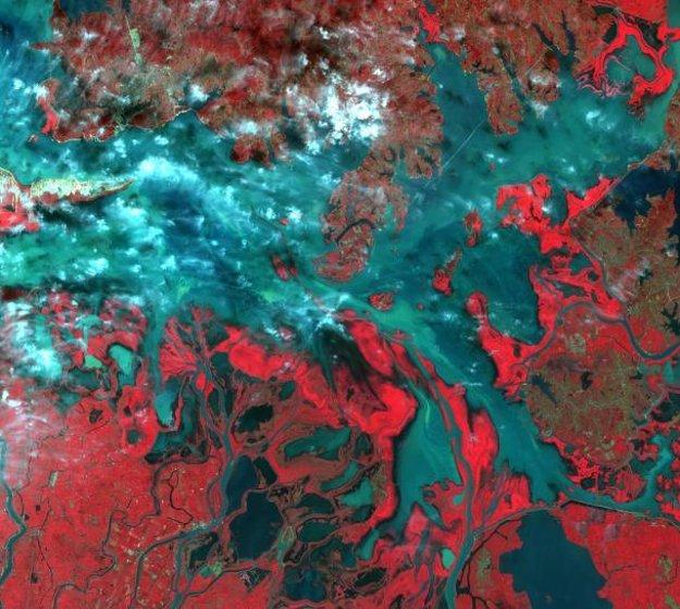 Čínske jazero Pcho-jang-chu v nepravých farbách.