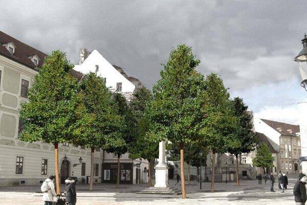 Nové stromy na Františkánskom námestí.