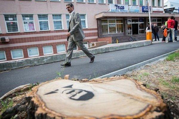 Obyvatelia nastriekali na pne po vyrúbaných stromoch na Trenčianskej ulici Ftáčnikovú podobizeň. Vyzvali ho, aby sa prišiel ofotiť.