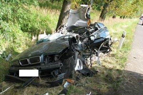 BMW po tragickej nehode.