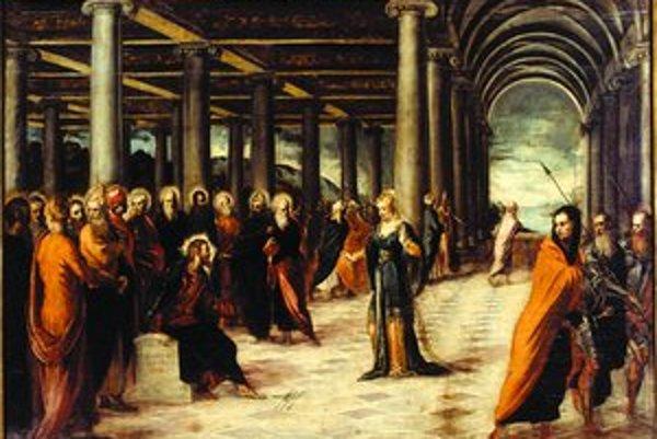 Kristus a cudzoložnica (Cristo e l'Adultera, 1546 – 1548). Olej na plátne, 119 x 168 cm.