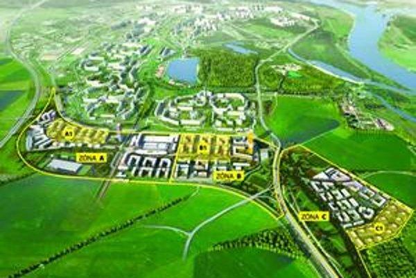 Južné mesto sa má rozprestierať za Petržalkou smerom na Rusovce. Prvá sa začne výstavba zóny C1, kde majú byť rodinné domy (na mape vpravo dole).