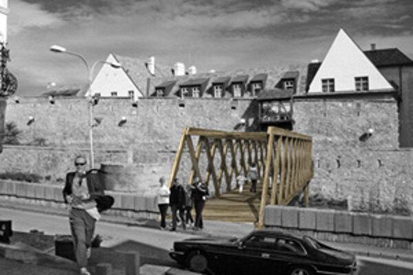 Drevený, historizujúci vizuál mosta by ponúkol nenápadné a elegantné riešenie pre komplikovaný priestor v okolí Dómu sv. Martina.