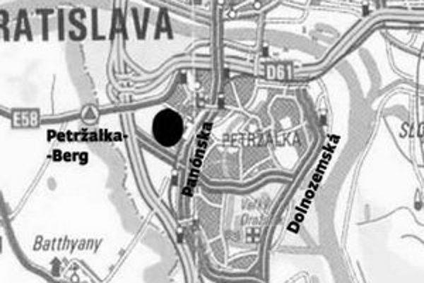 V utorok urbanistickú štúdiu bývalého areálu Matadoru (územie vyznačené čiernym bodom na mape) prerokujú poslanci na petržalskom zastupiteľstve.