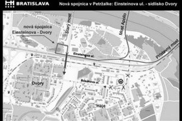 Obojsmernú estakádu medzi Jantárovou cestou a Krasovského ulicou, ktorá pokračuje na Einsteinovu, spojazdnili. Spravuje ju mesto.