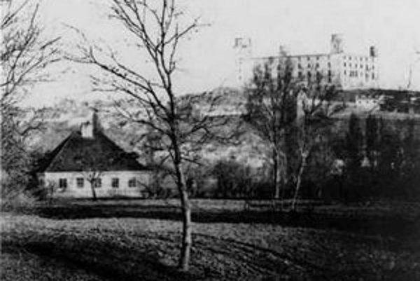 Štefan Kozič: Pohľad na Bratislavský hrad z Petržalky, 1863.