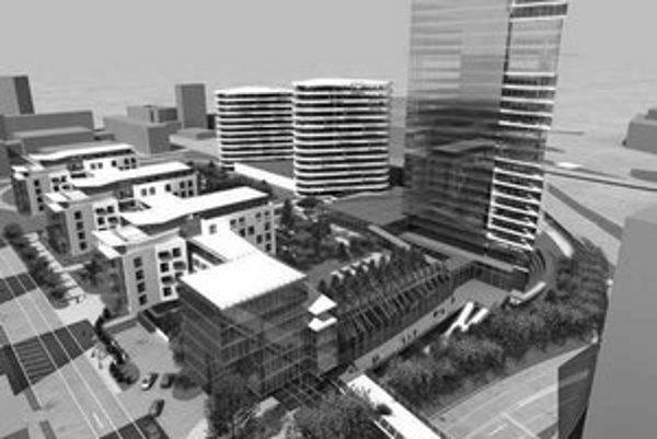 Zelená plocha na parteri budúcej prestavby kúpeľov Centrál bude verejne prístupná cez halu.