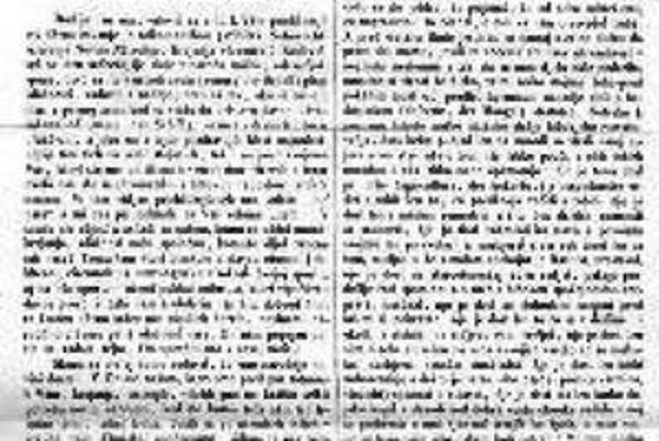 Úvodná stránka prvého čísla Slovenských národných novín z 1. 8. 1845.