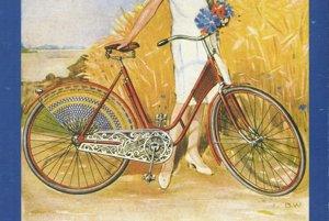 Pohľadnica Švédska - moderná mladá žena s moderným ženským bicyklom.