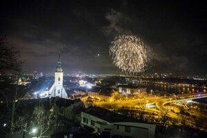 Oslavy príchodu Nového roka v Bratislave.