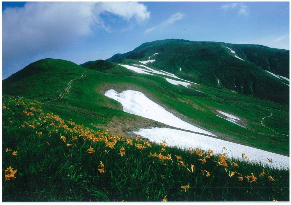 Letná podoba hory Gassan.
