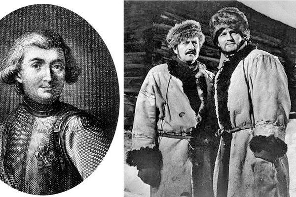 Jediný zachovaný portrét Mórica Beňovského a (vpravo) Jozef Adamovič v jeho televíznej podobe z roku 1974.