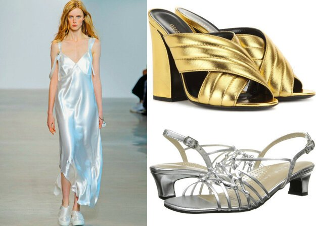 Zlaté topánky Gucci, strieborné sandáliky David Tate