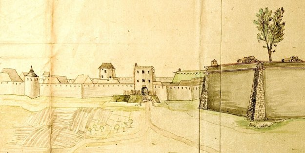 Detail veduty od N. W. von Lincka sčasťou západného úseku mestského opevnenia stzv. Štiavnickou bránou. Linck detailne zakreslil mestské hradby abašty so strieľňami pre ručné zbrane avežou Štiavnickej brány. Vpozadí nad hradby vstupuje časť veže tzv. Vígľašskej brány.