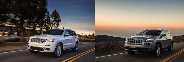 Jeepy Grand Cherokee (vľavo) a Cherokee, ktorých sa problémy s nedostatkom volantov týkajú.