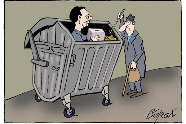 83-ročný chýrny srbský karikaturista Predrag Koraksić Corax opäť horúčkovito tvorí.