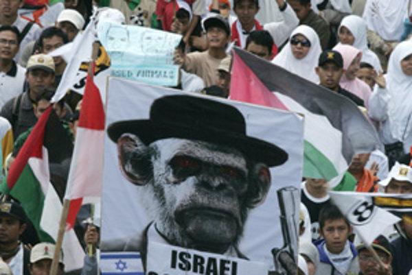 Indonézski moslimovia na demonštrácii posielali Izrael do pekla.