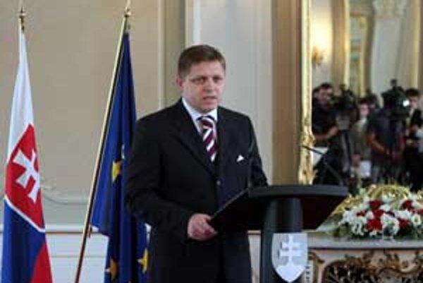 Predseda vlády Robert Fico počas slávnostného zhodnotenia dvojročného pôsobenia súčasného vládneho kabinetu