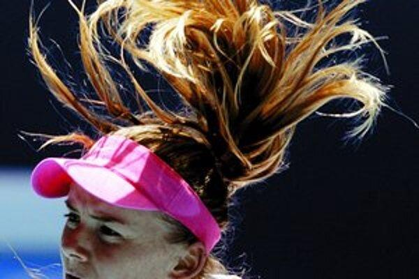 Daniela Hantuchová vo víťaznom zápase proti Francúzke Cornetovej.