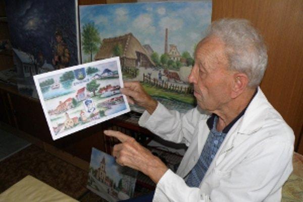 87-ročný holíčsky maliar Oto Kroupa, jeden zo zakladateľov klubu Genezis.