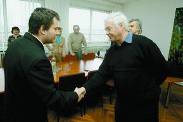 Petranský sa zvítal aj s Miroslavom Lehkým, jedným z najbližších spolupracovníkov Jána Langoša.