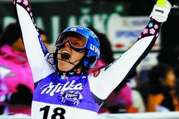 Takto sa tešila Veronika Zuzulová z 3. miesta v slalome SP žien v slovinskej Kranjskej Gore 7. januára tohto roku.