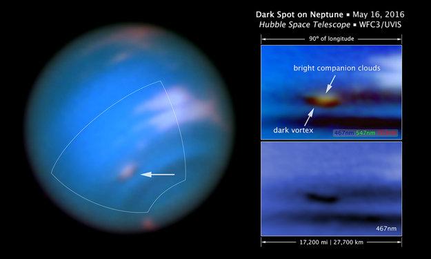 Záber naľavo ukazuje, že tmavý vír sa nachádza pod svetlými oblakmi. Vír je najlepšie vidno pri modrých vlnových dĺžkach (vpravo dole).