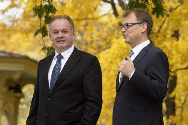 Prezident SR Andrej Kiska a fínsky premiér Juha Sipilä.