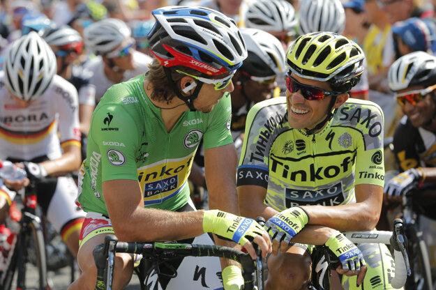 Majú dobrý vzťah. Sagan (vľavo) a Contador budú lídrami svojho tímu na Tour de France