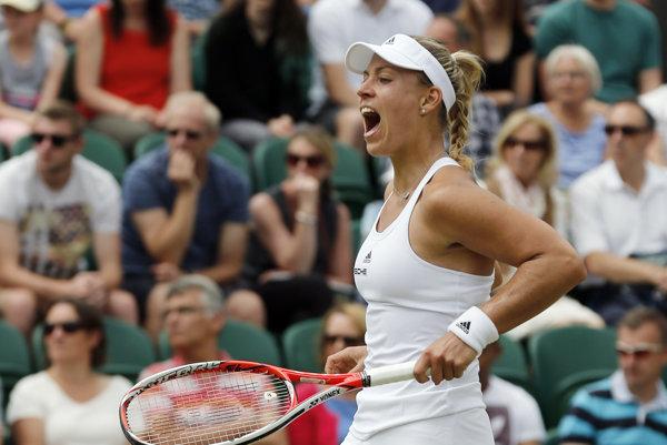 Hoci sa Angelique Kerberová príliš nenatrápila, z víťazstva mala veľkú radosť.