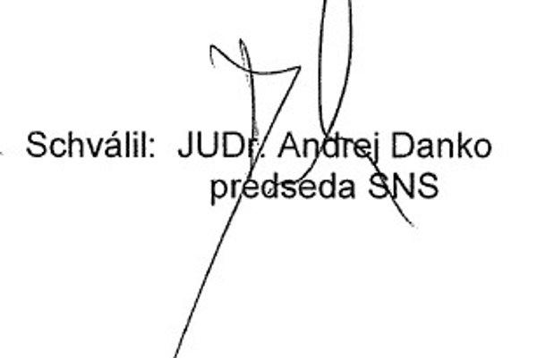 Druhý podpis Andreja Danka z výročnej finančne správy SNS za rok 2012.