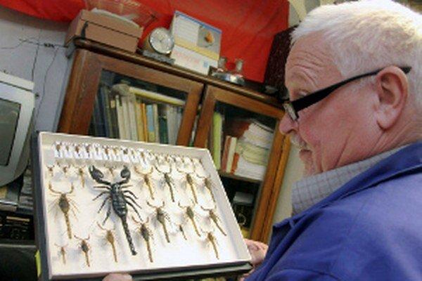 Pavol Arpáš ukazuje svoju zbierku škorpiónov