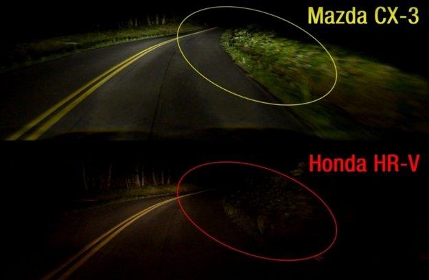 Porovnanie výkonu reflektorov Mazdy CX-3 a Hondy HR-V