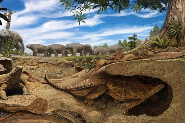 Umelecká predstava, ako kedysi žil Eunotosaurus.