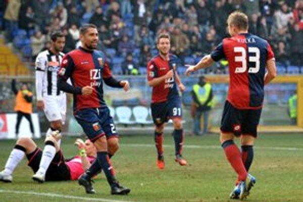 Juraj Kucka oslavuje svoj tretí gól sezóny.