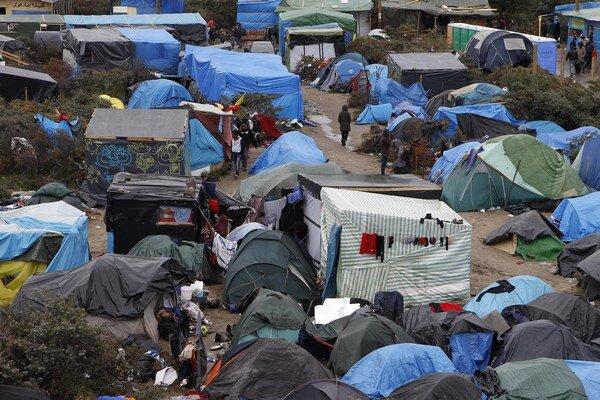 Stanový tábor pri Calais.
