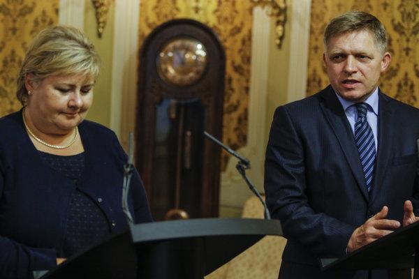 Robert Fico prijal predsedníčku vlády Nórskeho kráľovstva Ernu Solbergovú.