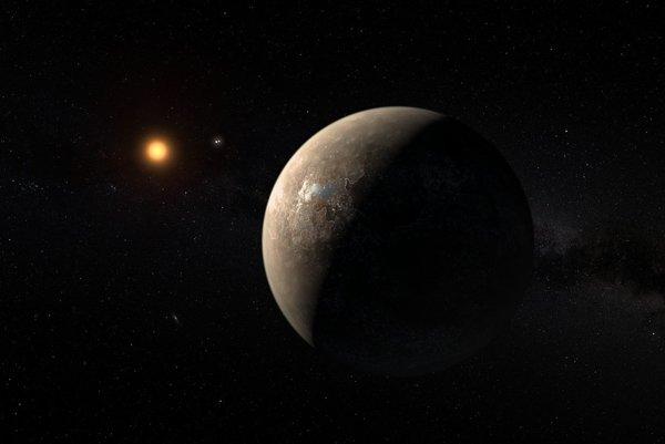 Umelecké zobrazenie exoplanéty Proxima b a hviezdy Proxima Centauri.