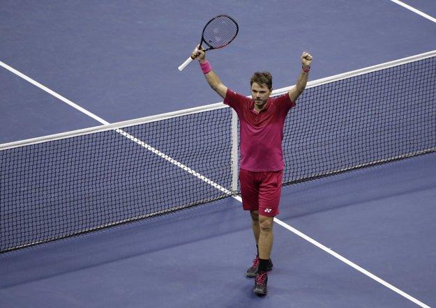 Wawrinka slávi postup do finále US Open.